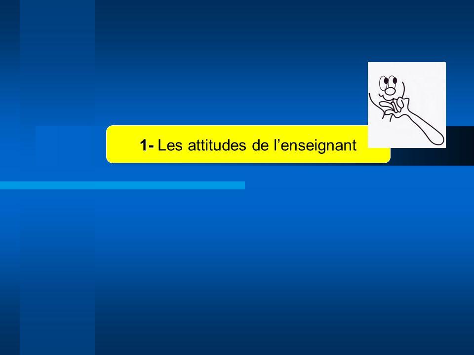 1- Les attitudes de l'enseignant