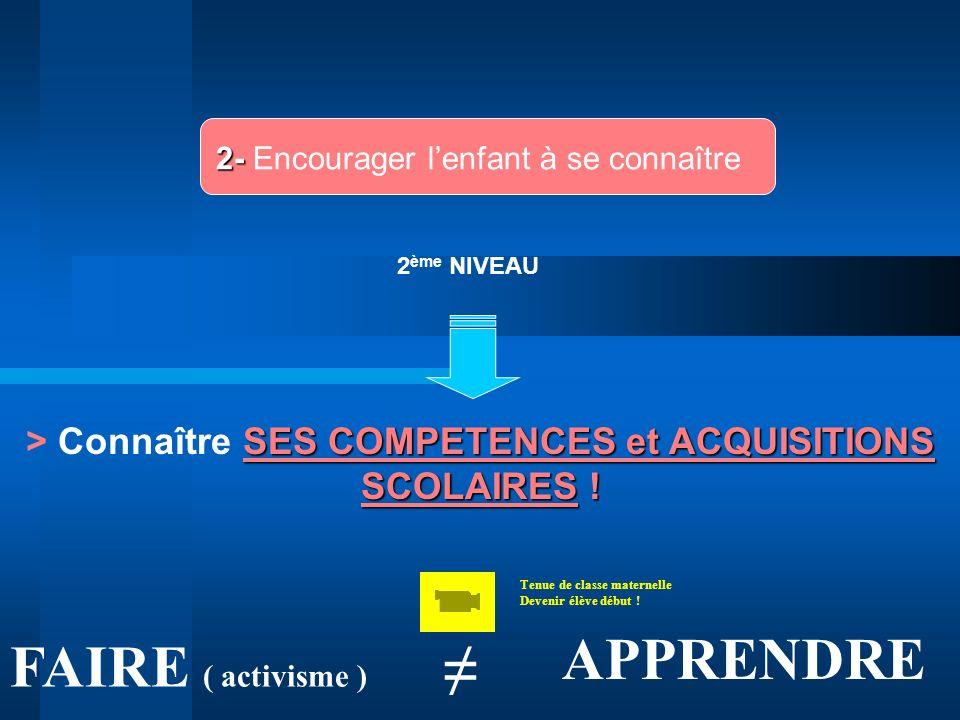 > Connaître SES COMPETENCES et ACQUISITIONS SCOLAIRES !