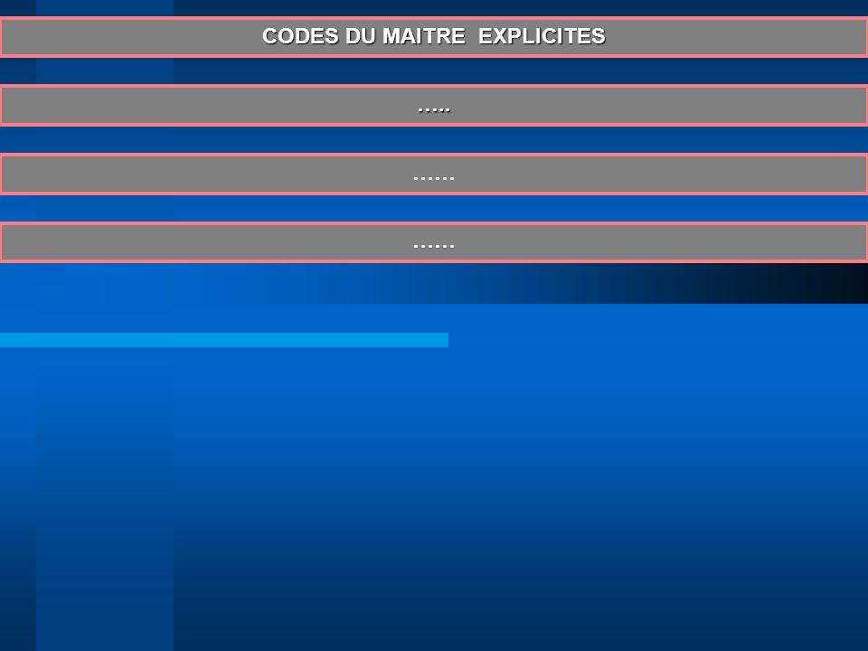 CODES DU MAITRE EXPLICITES