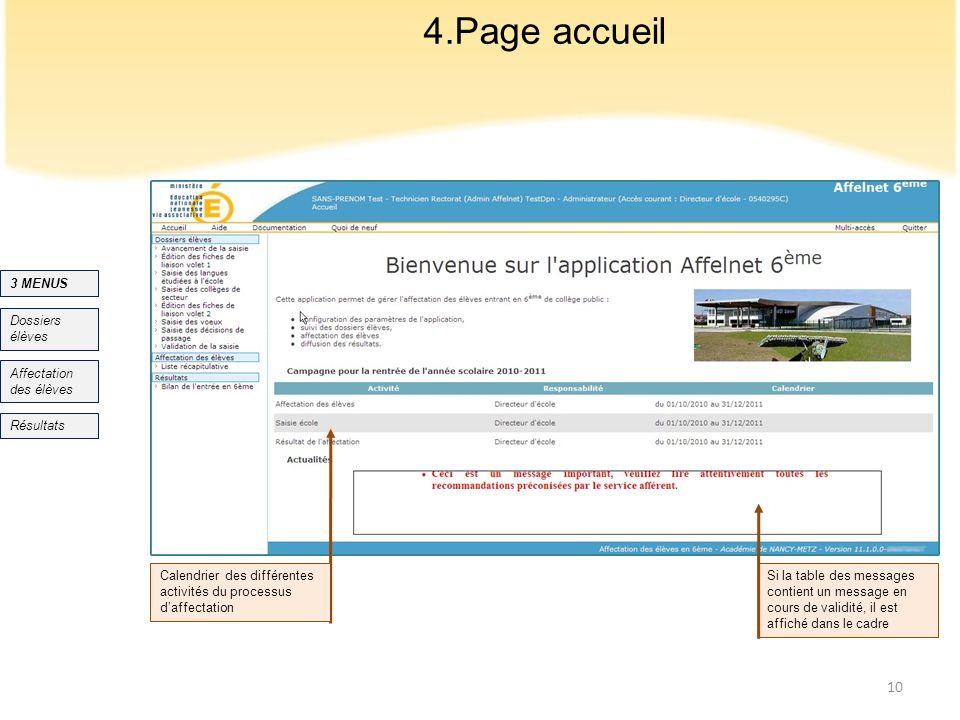 4.Page accueil 3 MENUS Dossiers élèves Affectation des élèves