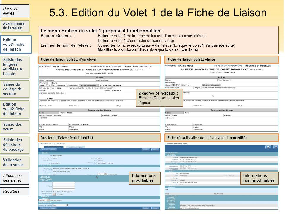 5.3. Edition du Volet 1 de la Fiche de Liaison