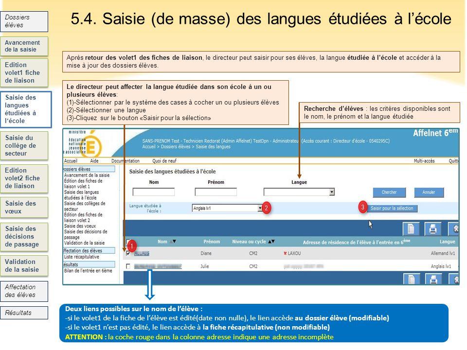 5.4. Saisie (de masse) des langues étudiées à l'école
