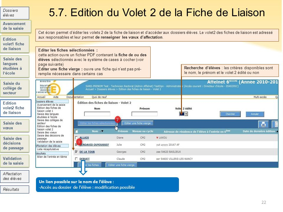 5.7. Edition du Volet 2 de la Fiche de Liaison