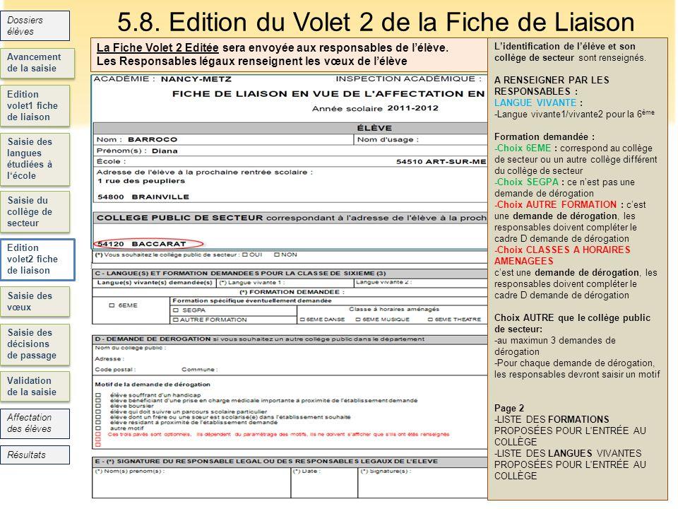5.8. Edition du Volet 2 de la Fiche de Liaison