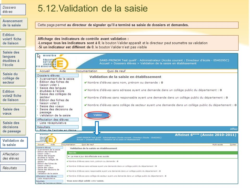 5.12.Validation de la saisie