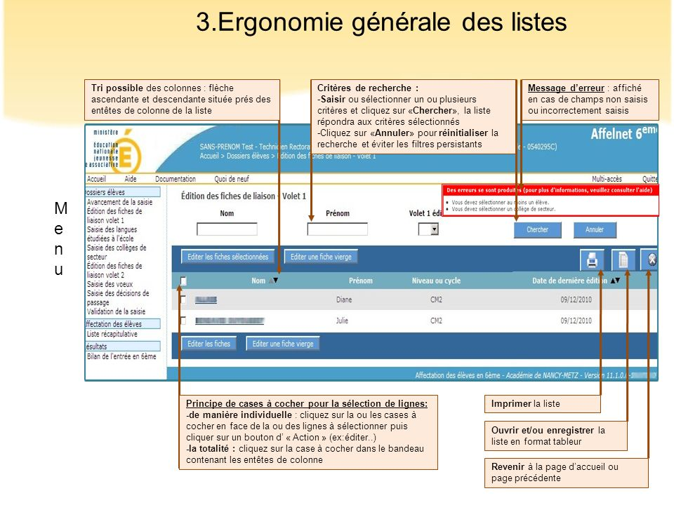 3.Ergonomie générale des listes