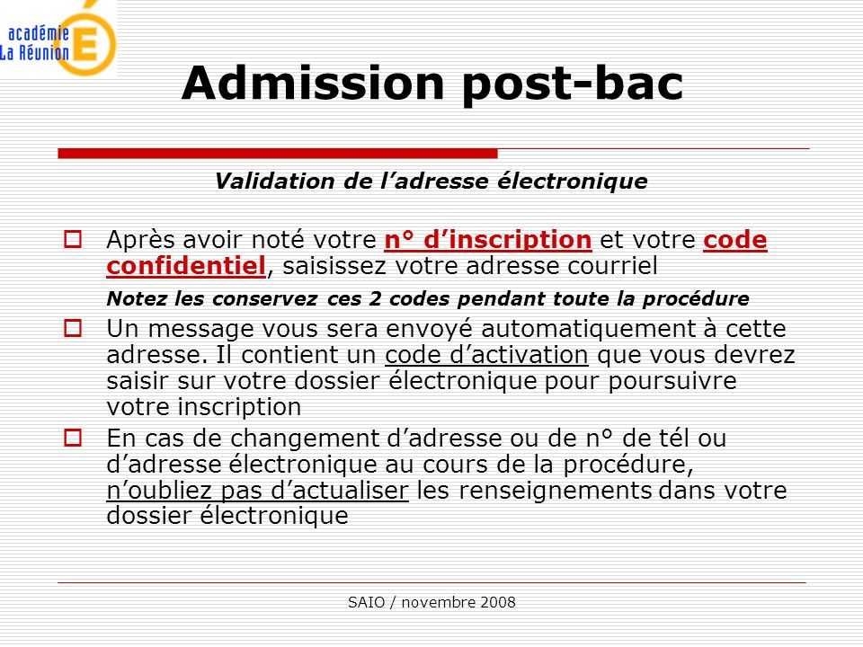 Validation de l'adresse électronique