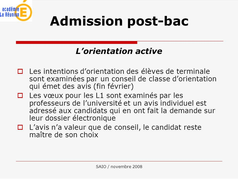Admission post-bac L'orientation active