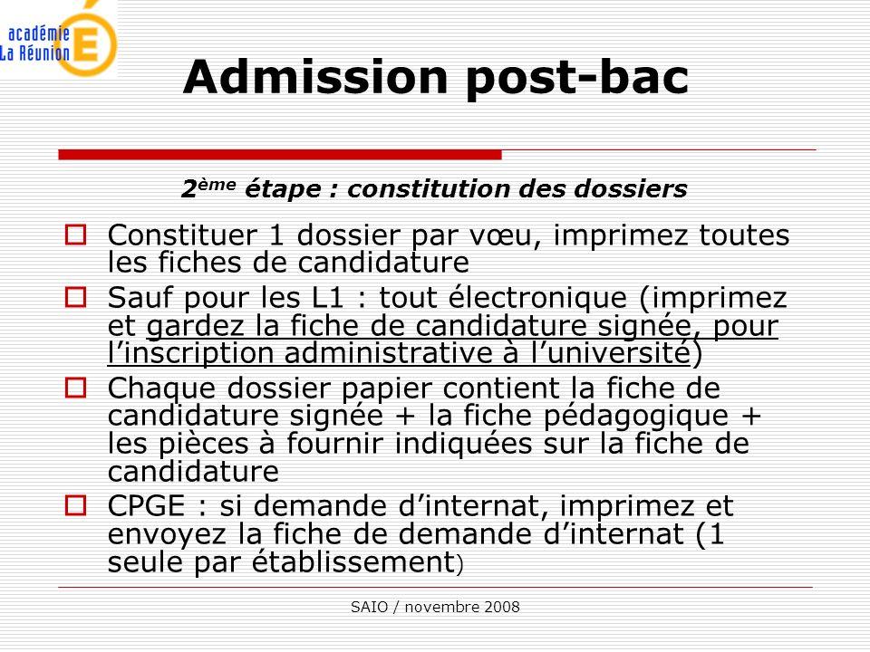 2ème étape : constitution des dossiers