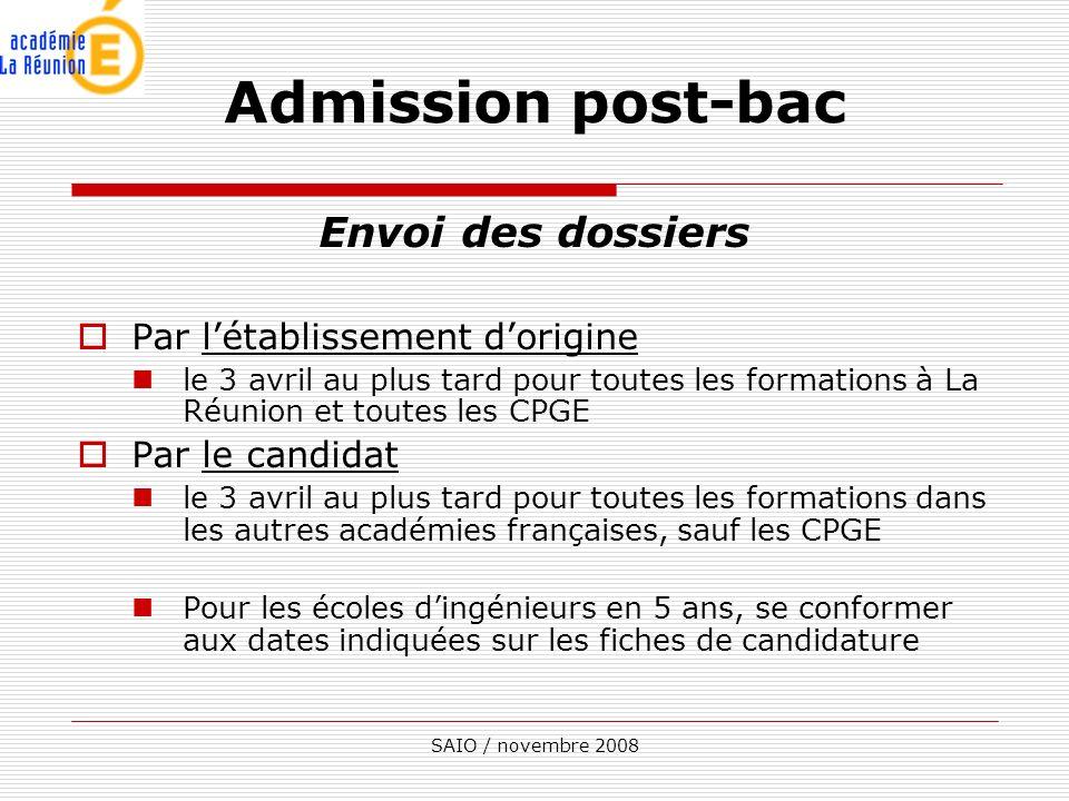 Admission post-bac Envoi des dossiers Par l'établissement d'origine