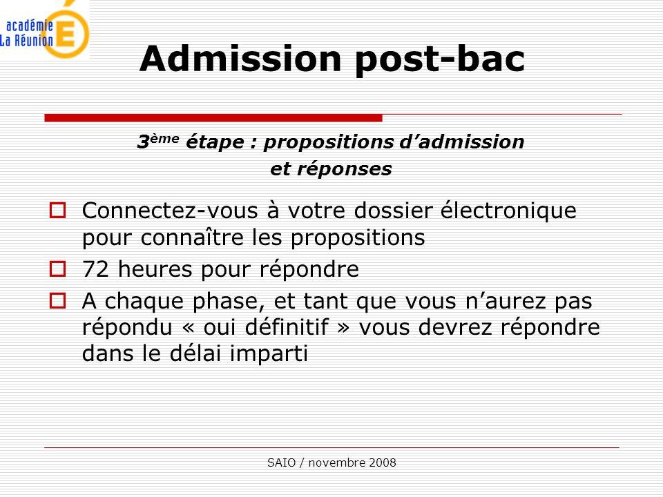 3ème étape : propositions d'admission