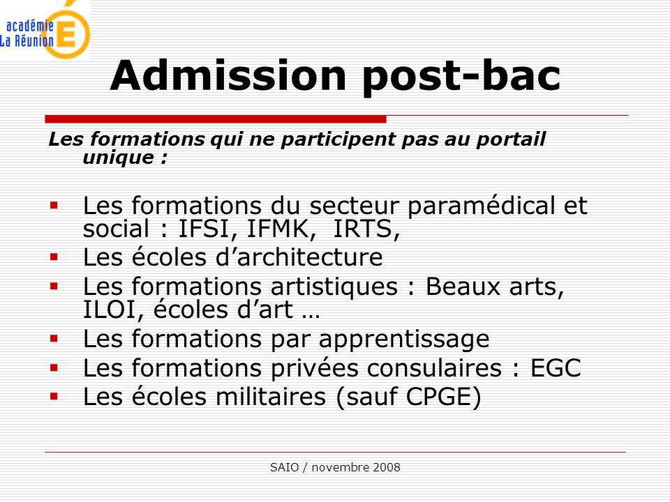 Admission post-bac Les formations qui ne participent pas au portail unique : Les formations du secteur paramédical et social : IFSI, IFMK, IRTS,