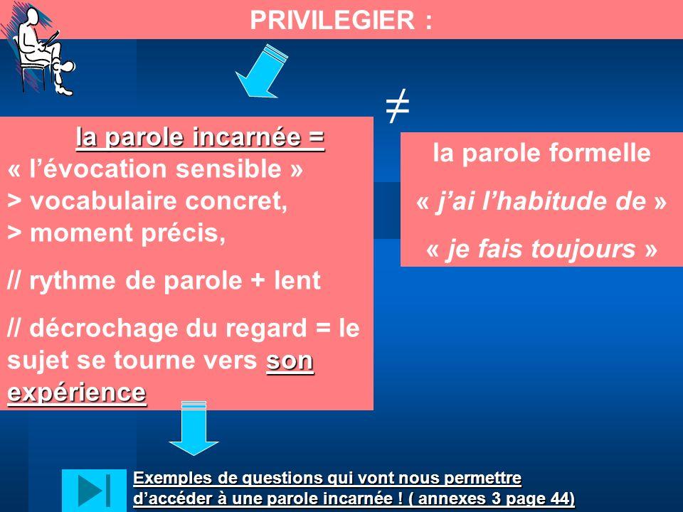 PRIVILEGIER : ≠ la parole incarnée = « l'évocation sensible » > vocabulaire concret, > moment précis,