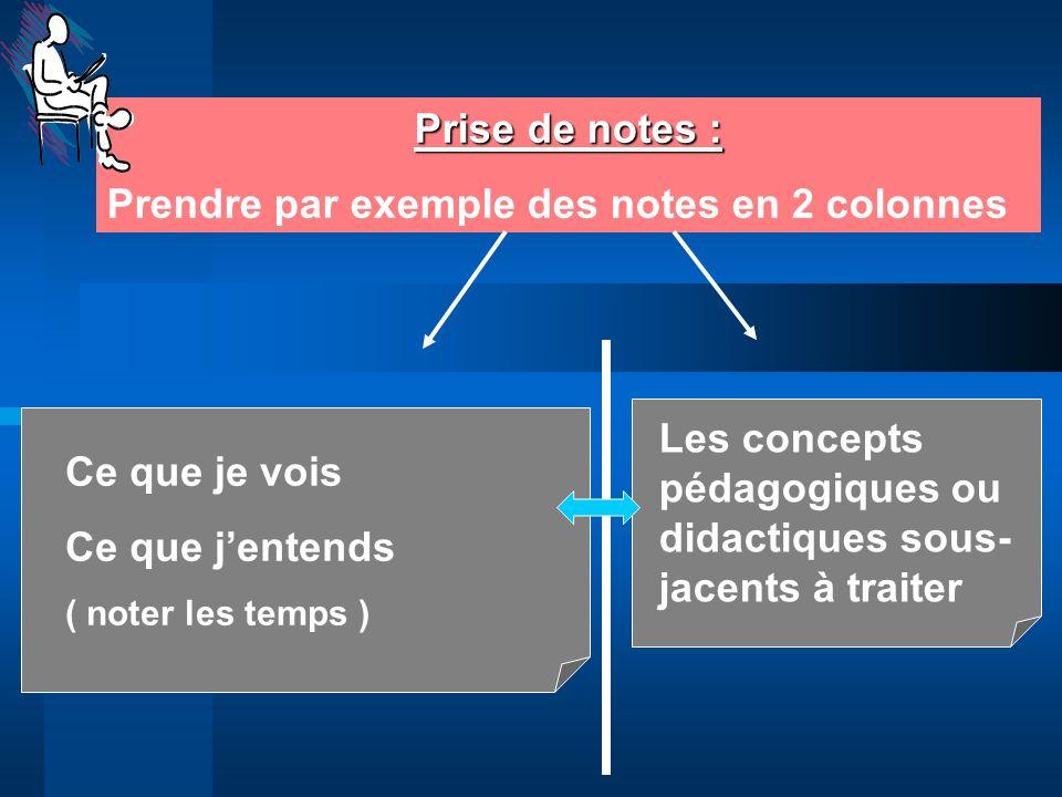 Prendre par exemple des notes en 2 colonnes