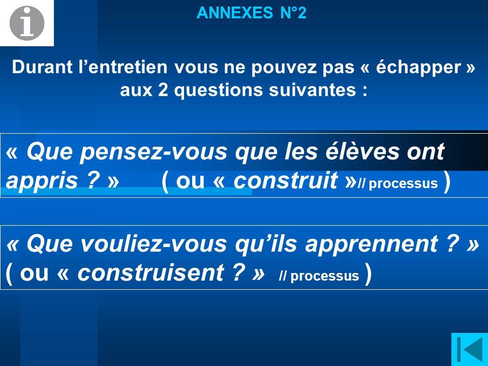 ANNEXES N°2 Durant l'entretien vous ne pouvez pas « échapper » aux 2 questions suivantes :
