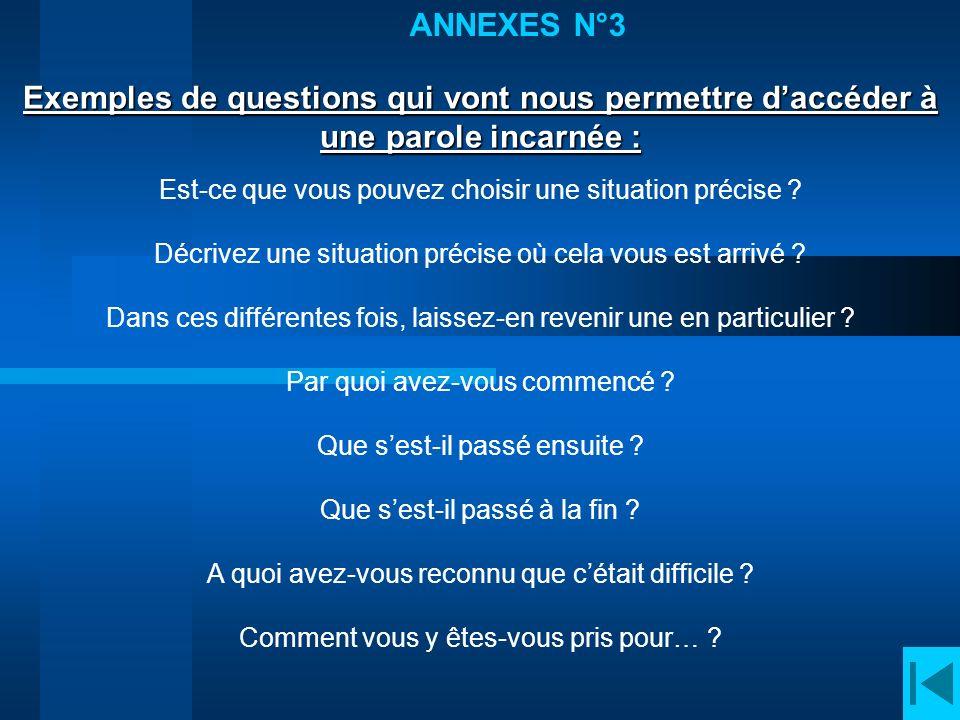 ANNEXES N°3 Exemples de questions qui vont nous permettre d'accéder à une parole incarnée : Est-ce que vous pouvez choisir une situation précise