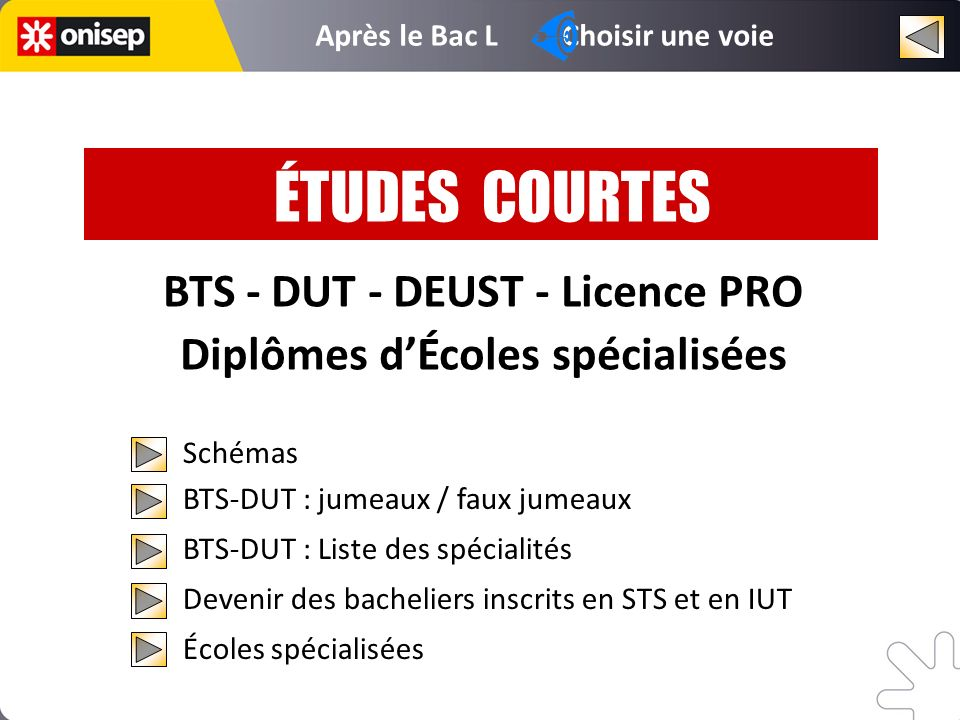 BTS - DUT - DEUST - Licence PRO Diplômes d'Écoles spécialisées