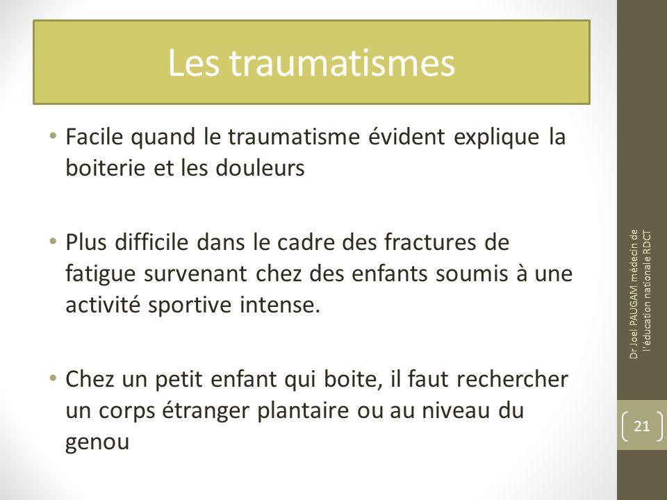 Les traumatismes Facile quand le traumatisme évident explique la boiterie et les douleurs.
