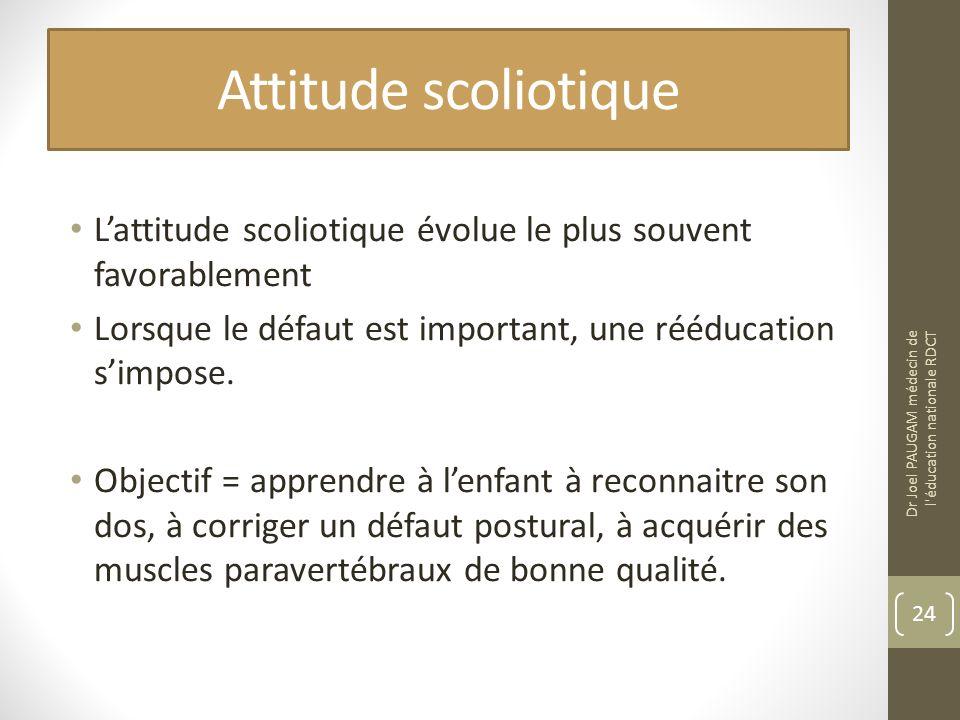 Attitude scoliotique L'attitude scoliotique évolue le plus souvent favorablement. Lorsque le défaut est important, une rééducation s'impose.