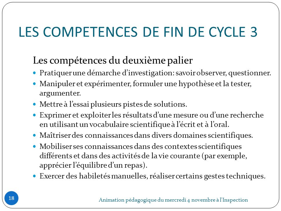 LES COMPETENCES DE FIN DE CYCLE 3