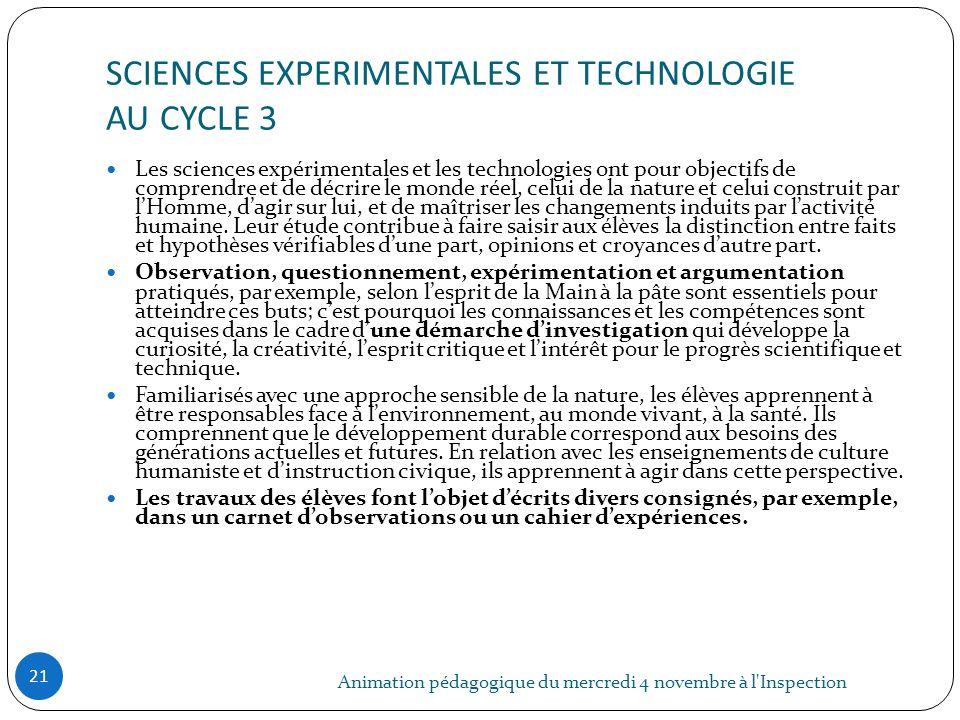 SCIENCES EXPERIMENTALES ET TECHNOLOGIE AU CYCLE 3
