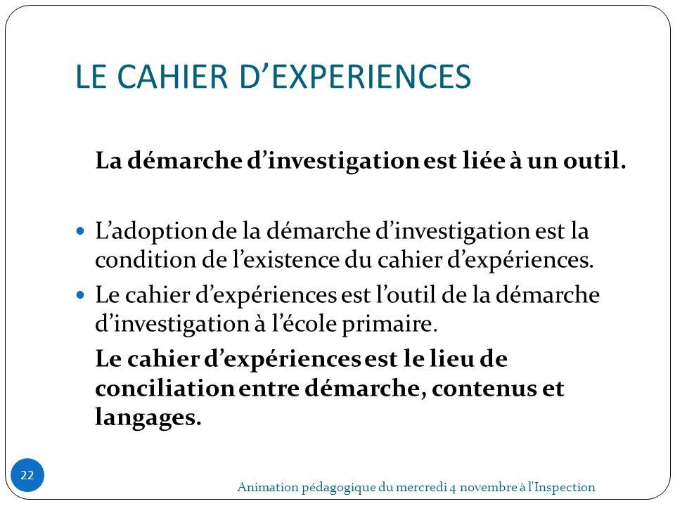 LE CAHIER D'EXPERIENCES