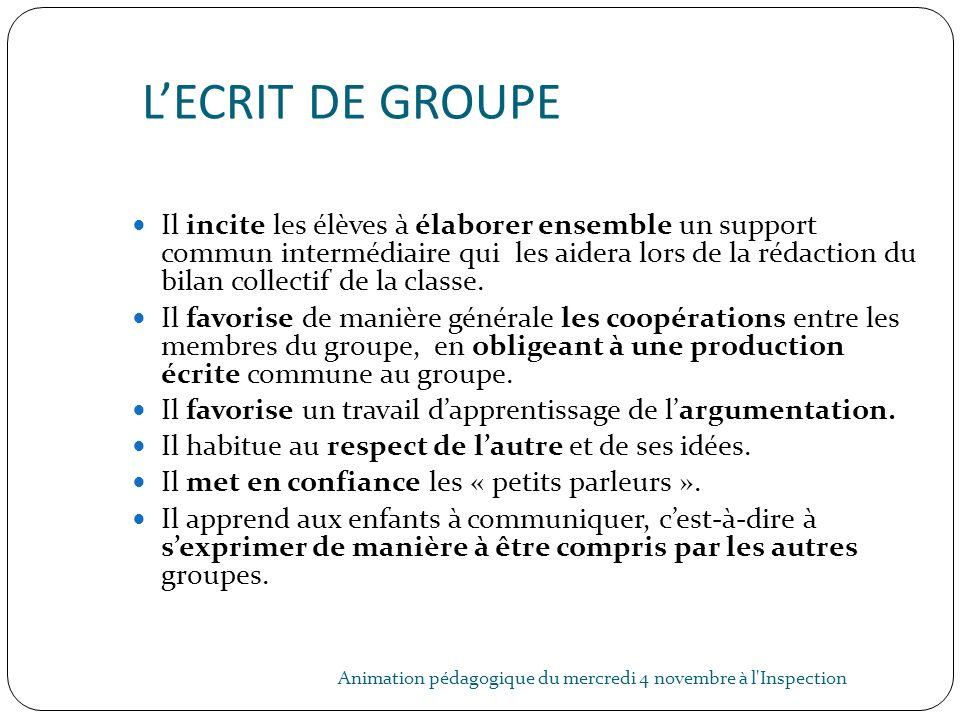 L'ECRIT DE GROUPE
