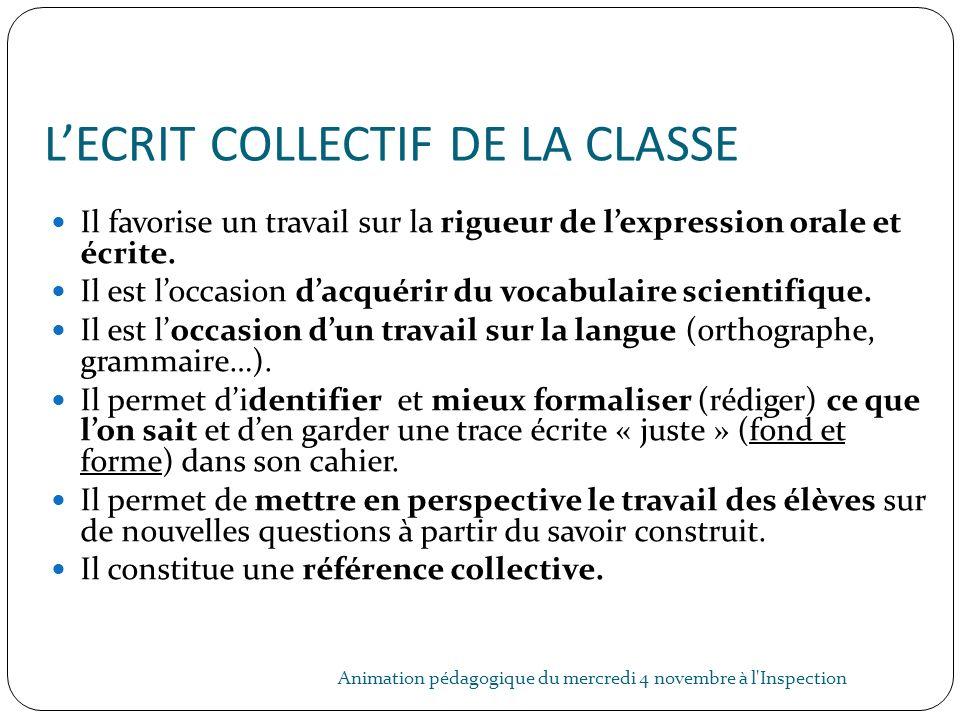 L'ECRIT COLLECTIF DE LA CLASSE