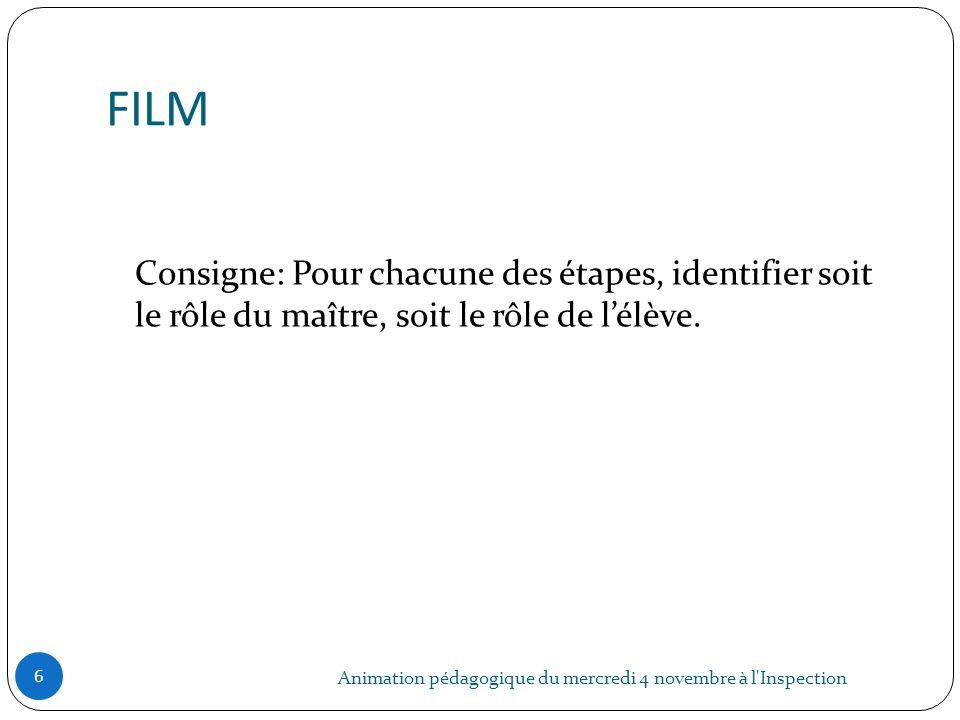 FILM Consigne: Pour chacune des étapes, identifier soit le rôle du maître, soit le rôle de l'élève.