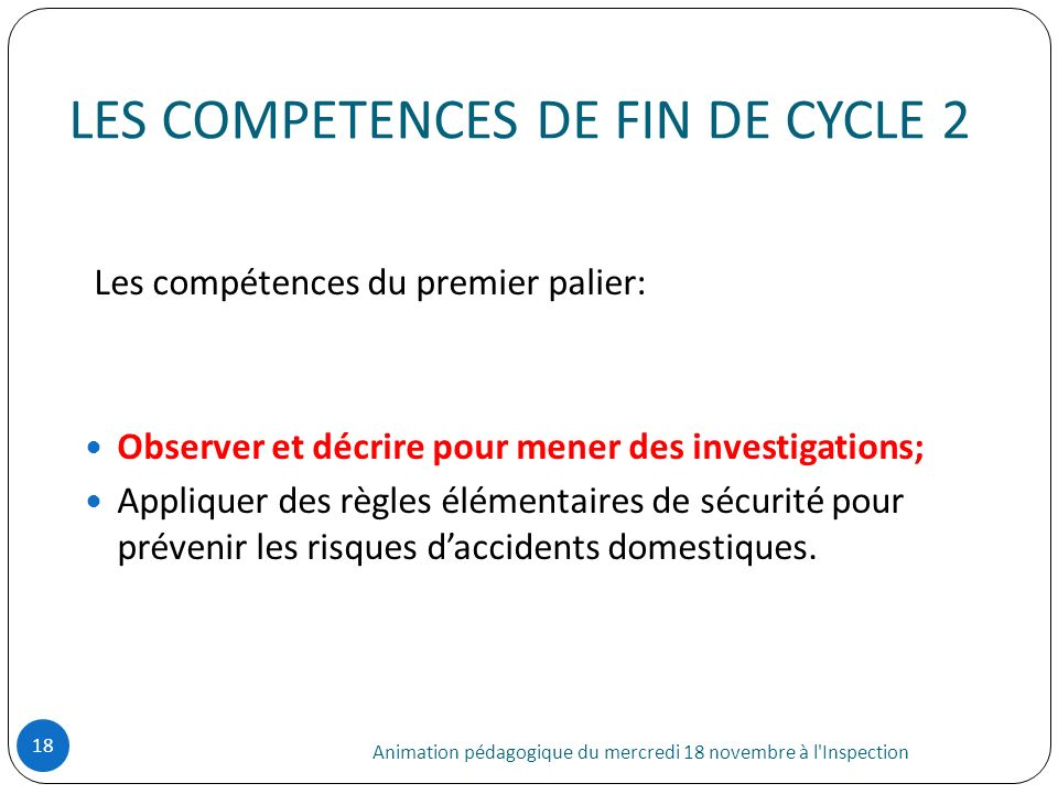 LES COMPETENCES DE FIN DE CYCLE 2