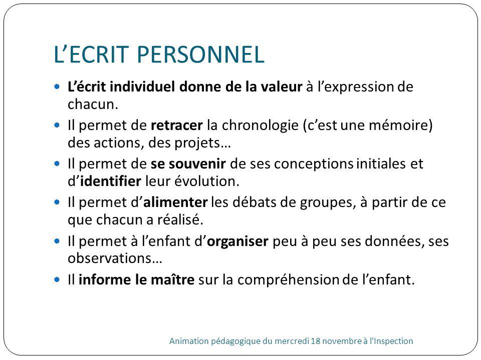 L'ECRIT PERSONNELL'écrit individuel donne de la valeur à l'expression de chacun.