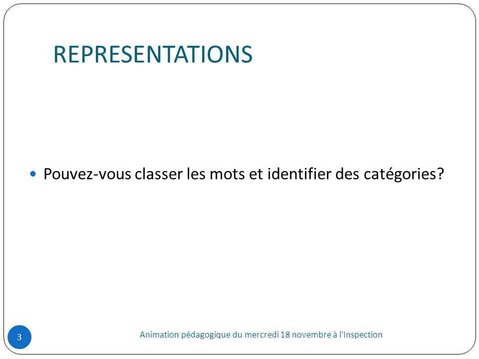 REPRESENTATIONS Pouvez-vous classer les mots et identifier des catégories.