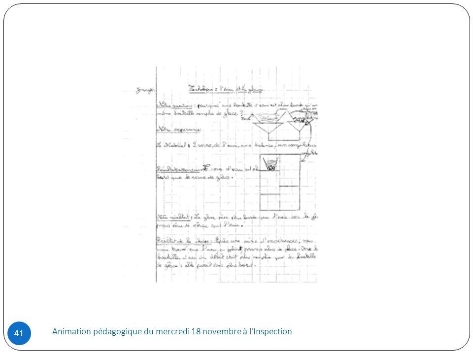 Animation pédagogique du mercredi 18 novembre à l Inspection