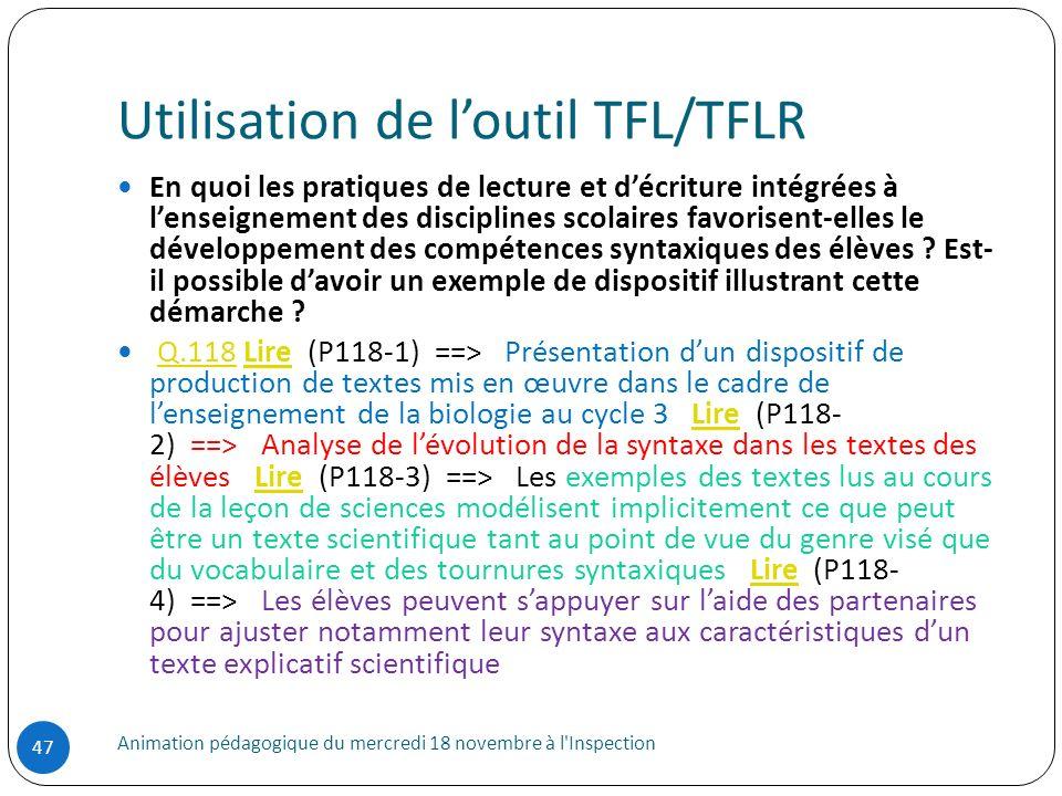 Utilisation de l'outil TFL/TFLR