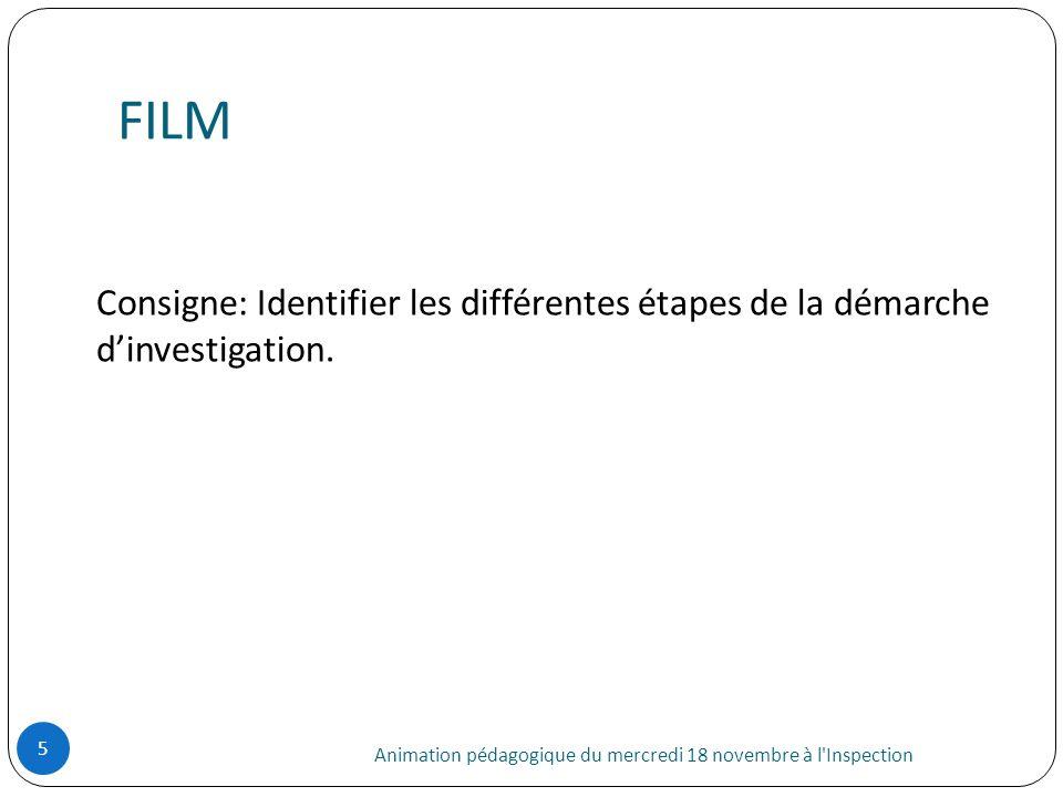 FILM Consigne: Identifier les différentes étapes de la démarche d'investigation.