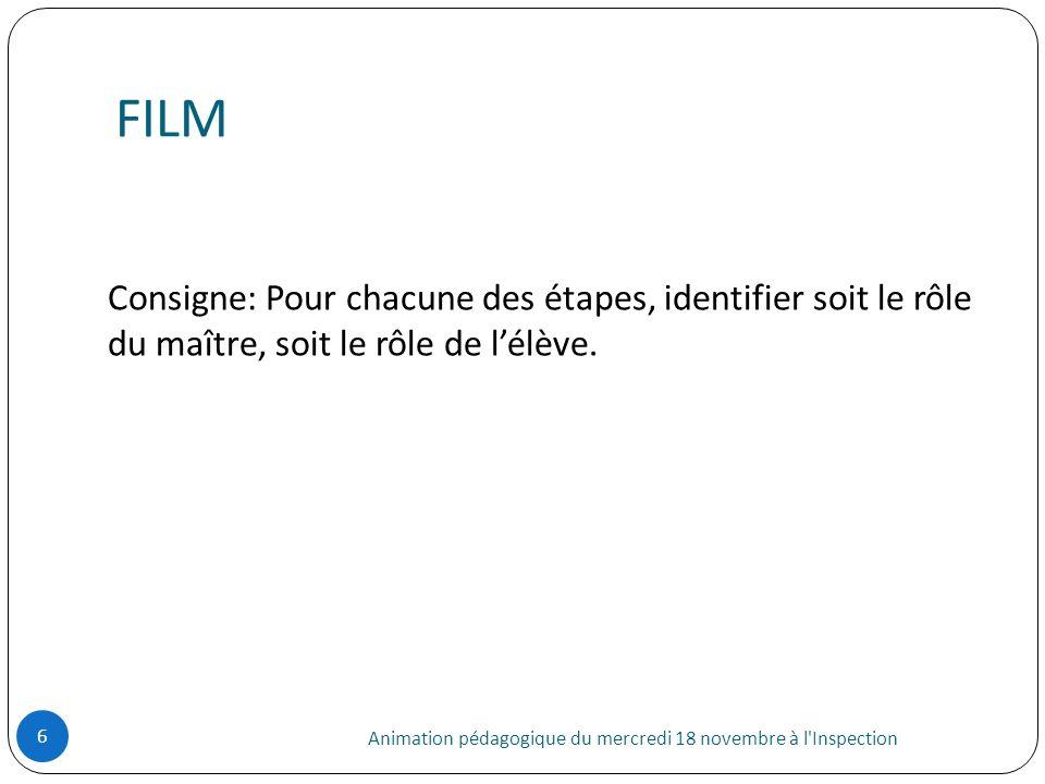 FILMConsigne: Pour chacune des étapes, identifier soit le rôle du maître, soit le rôle de l'élève.
