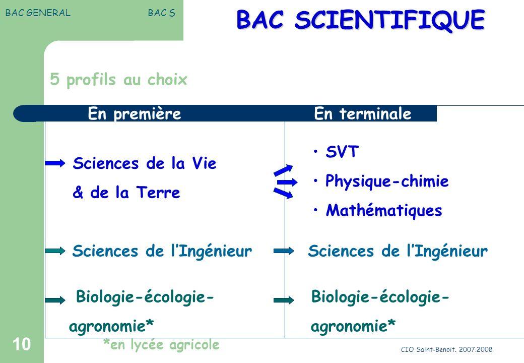 BAC SCIENTIFIQUE 5 profils au choix En première En terminale SVT