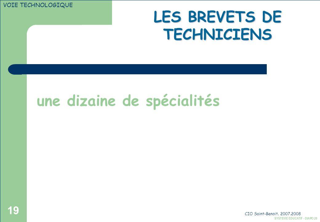 LES BREVETS DE TECHNICIENS