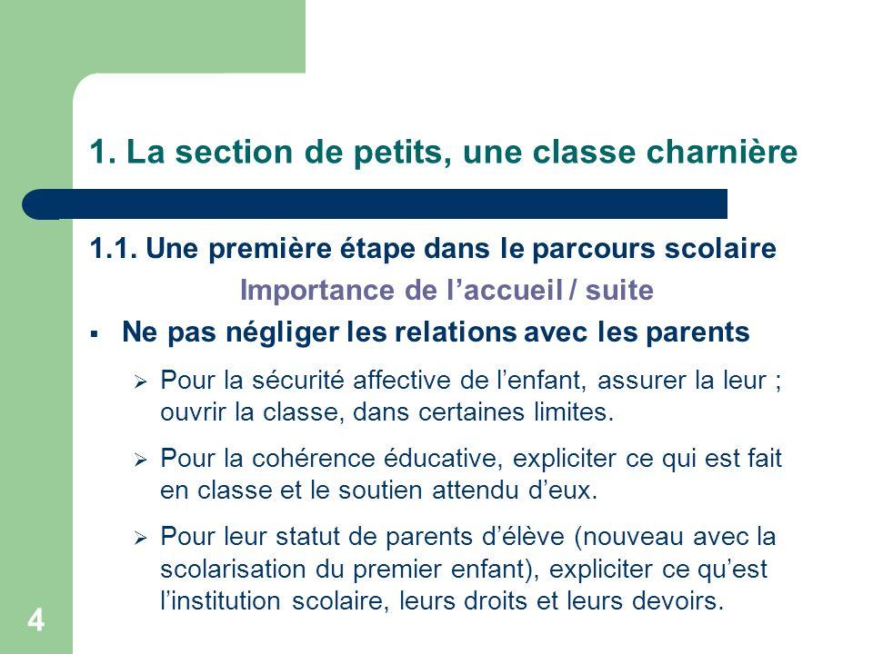 1. La section de petits, une classe charnière