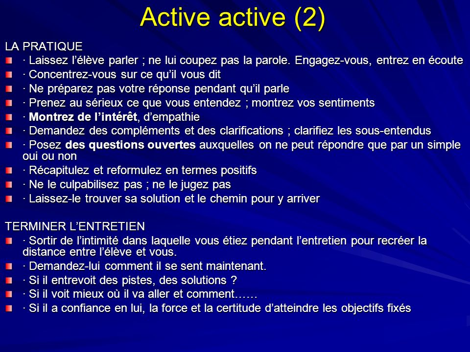 Active active (2) LA PRATIQUE