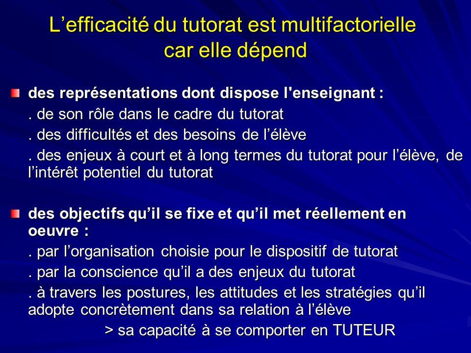 L'efficacité du tutorat est multifactorielle car elle dépend