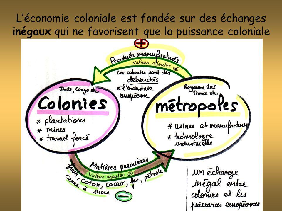 L'économie coloniale est fondée sur des échanges inégaux qui ne favorisent que la puissance coloniale