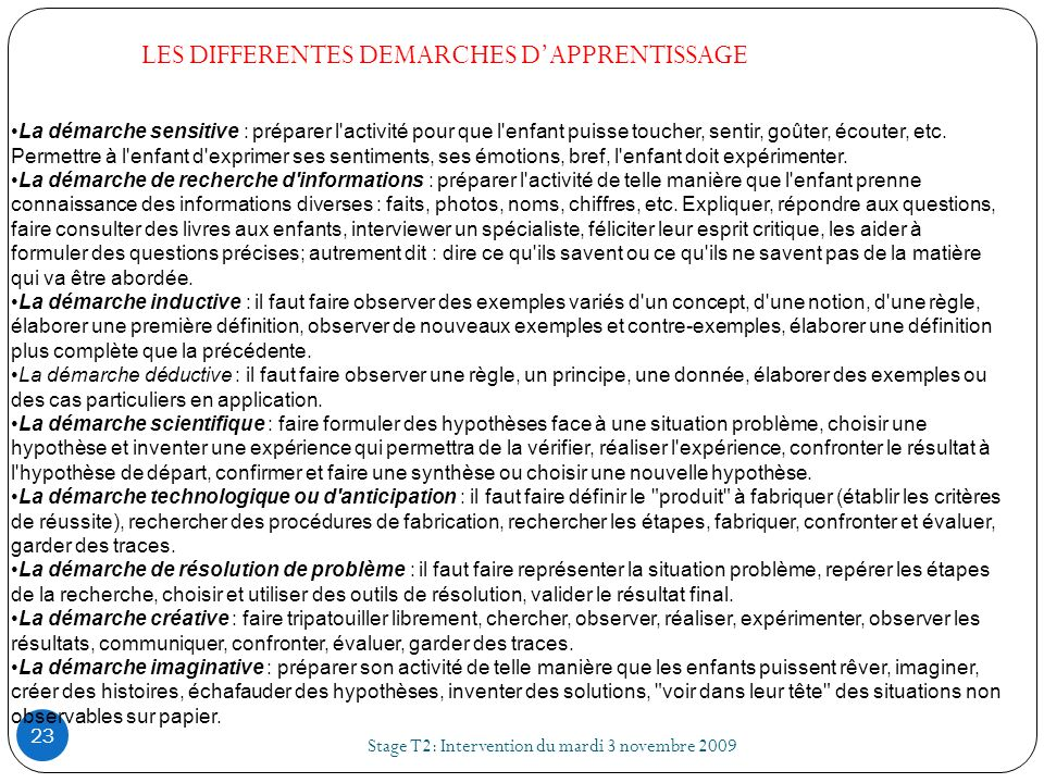 LES DIFFERENTES DEMARCHES D'APPRENTISSAGE