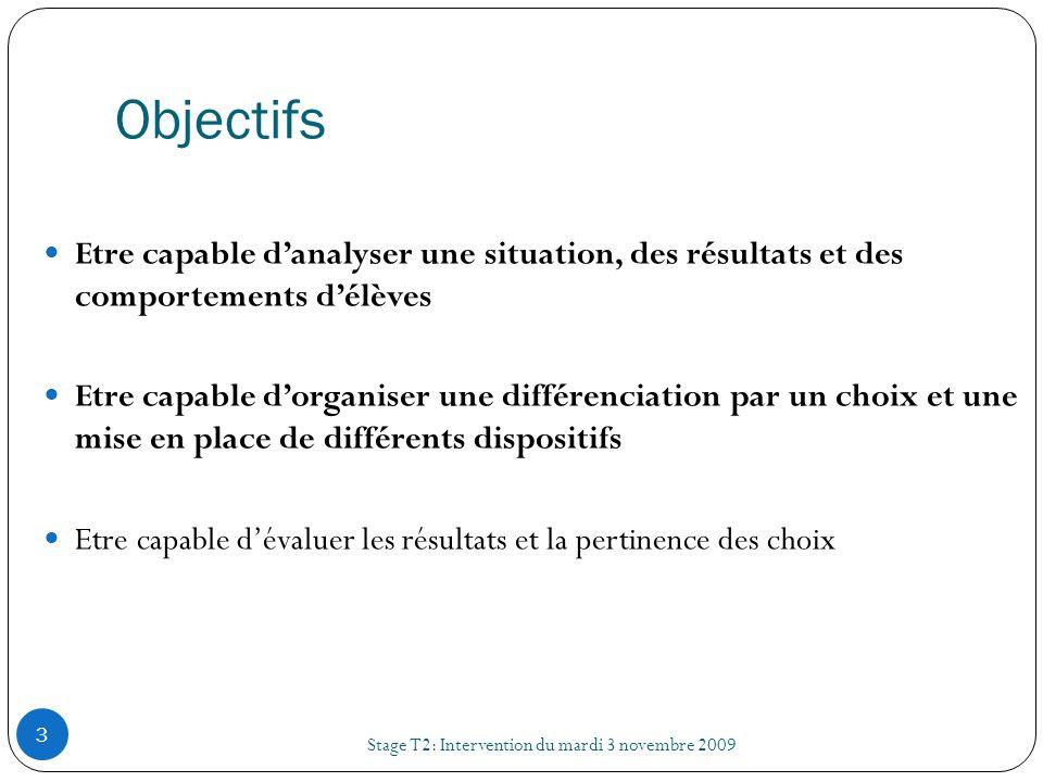 ObjectifsEtre capable d'analyser une situation, des résultats et des comportements d'élèves.