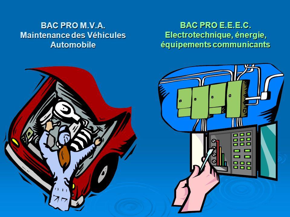 BAC PRO M.V.A. Maintenance des Véhicules Automobile