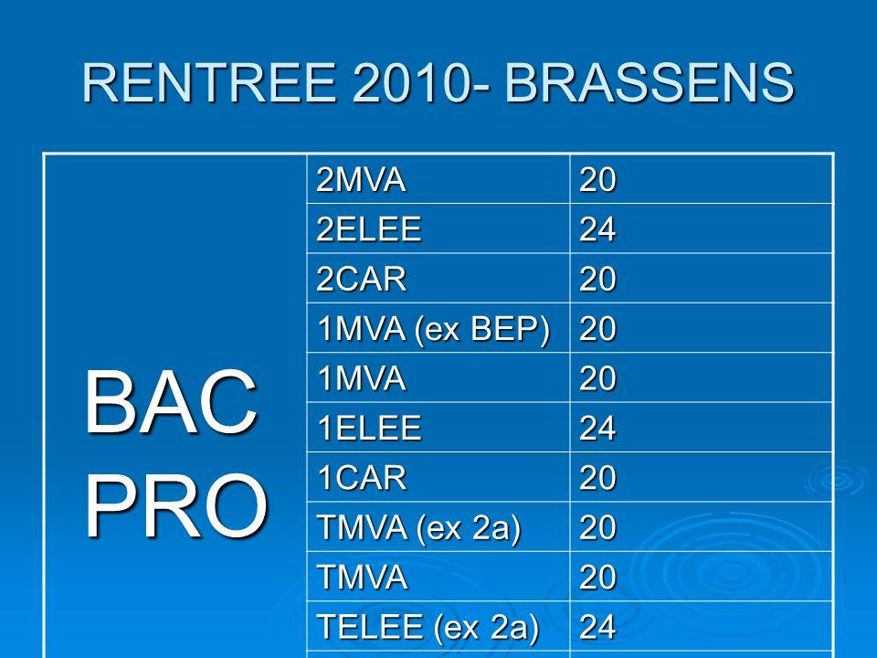 BAC PRO RENTREE 2010- BRASSENS 2MVA 20 2ELEE 24 2CAR 1MVA (ex BEP)