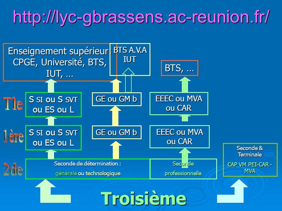 http://lyc-gbrassens.ac-reunion.fr/ Troisième Tle 1ère 2de