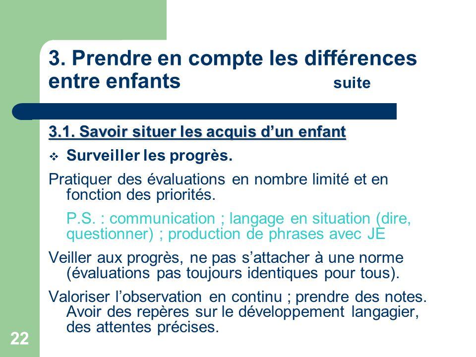 3. Prendre en compte les différences entre enfants suite