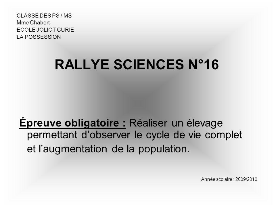 CLASSE DES PS / MS Mme Chabert. ECOLE JOLIOT CURIE. LA POSSESSION. RALLYE SCIENCES N°16.