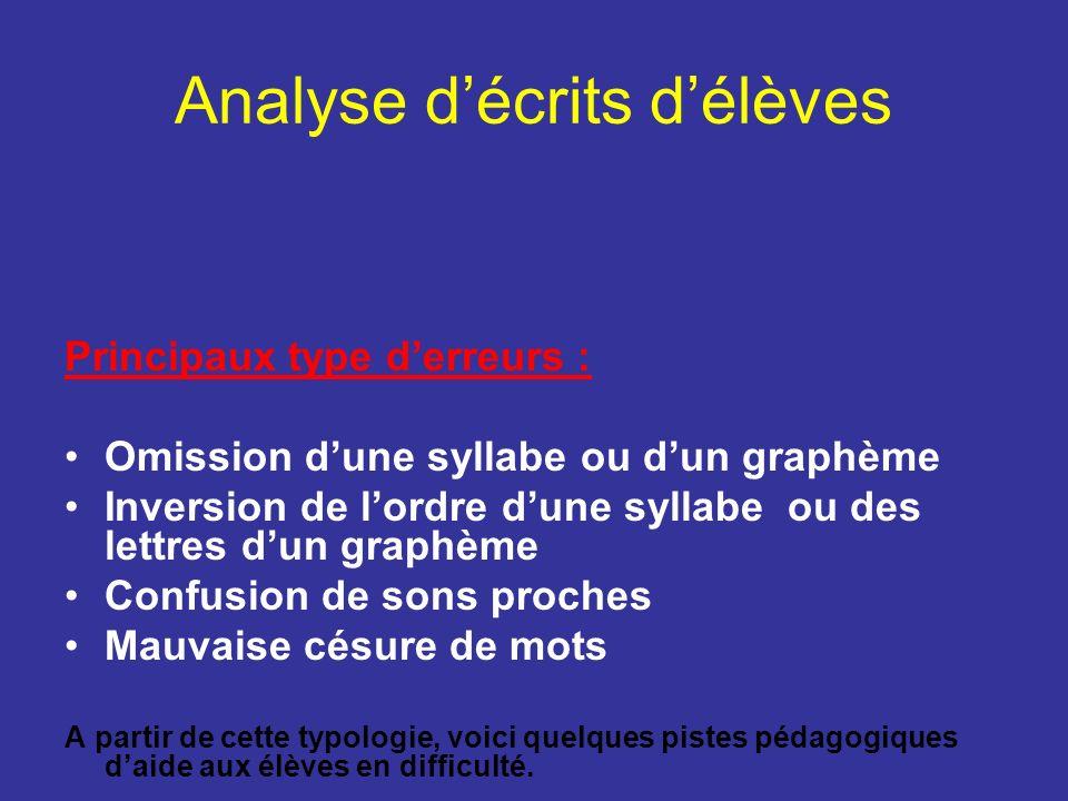 Analyse d'écrits d'élèves